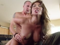 A blonde with a shaved pussy is getting fucked really deeply