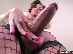 Latina Tgirl masturbates until she cums