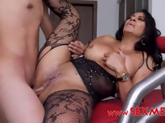 Busty brunette dive in stockings gets ass fucked with cumshot
