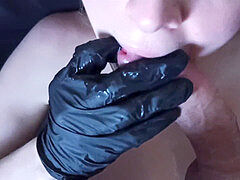 Masked quarantine: steaming sexy wild sloppy blow-job, double cum in facehole