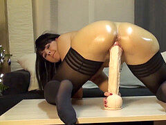 PAWGW humping large black Dildo