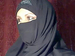 arabian hijab damsel shows herself on webcam