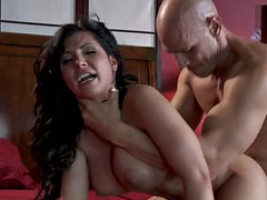 latina fucks long cock and takes cum on tits
