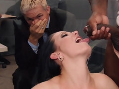 White chick MILF getting three cock in her holes
