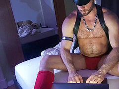 Paul Europe leather bear, jockstrap, muir cap, webcam masturbate off solo