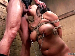 Busty beauty in tight bondage anal bangs - Big tits