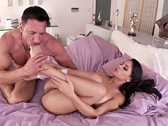 jasmine caro rides a big cock while wearing a sexy bunny outfit
