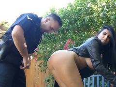 Policeman catches gorgeous criminal and fucks her in the backyard