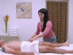 Asian masseuse Nari Park oils up & fucks her client on the massage table