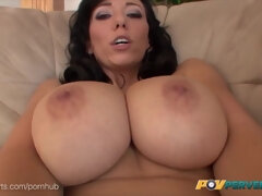 Alia Janine - saggy tits MILF has POV Fuck with smoking, blowjob, titjob and cumshot