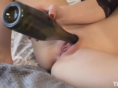 euro chick in fetish masturbation scene with bottle - objects insertion