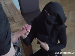 Sex with Poor Muslim Niqab Girl who earns cock and cash - cumshot