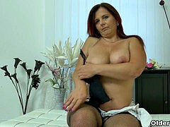 euro milf Ria Black strips off and rubs her smoothly-shaven poon