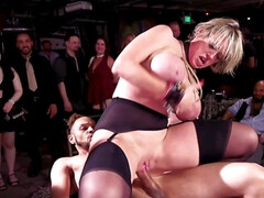 Blonde and ebony chick are being gangbanged and humiliated