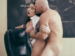 Lustful porn teacher bangs his dark haired student in the classroom